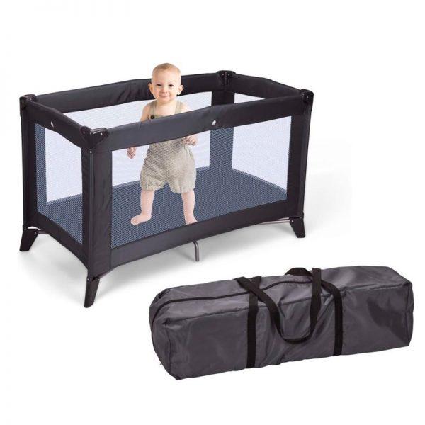Kinderbed donkergrijs vouwbaar