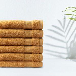 6 okergele handdoeken